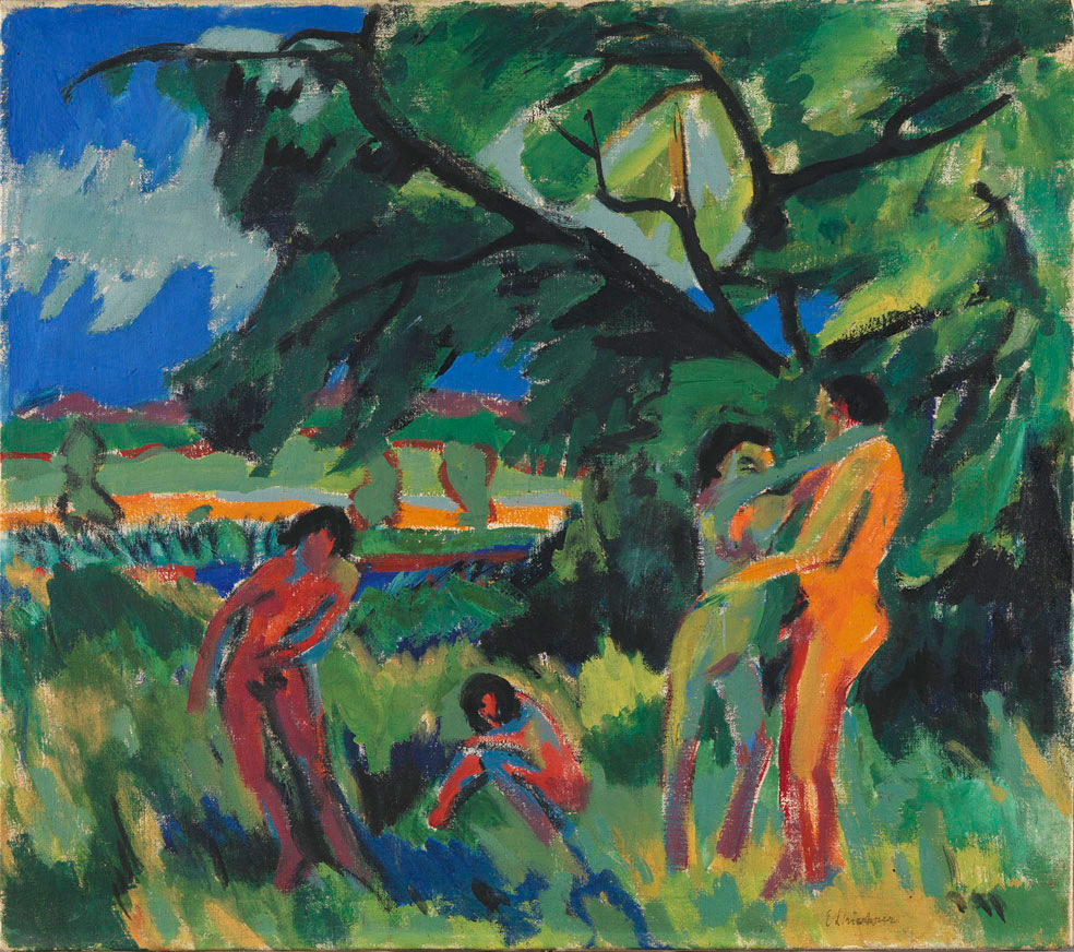 Expressionist painting in bright, contrasting colours (green, blue, red, orange). Depiction of four naked people in front of a landscape. Among them a man and a woman embracing each other, Ernst Ludwig Kirchner