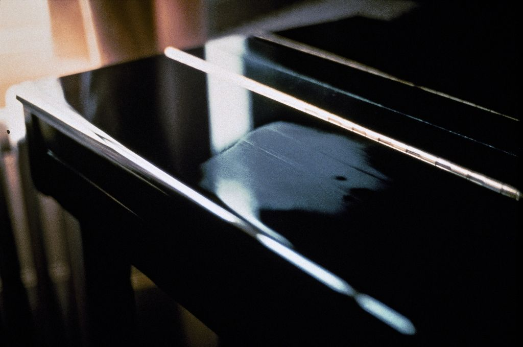 This photograph depicts a condensed breath on black piano surface.