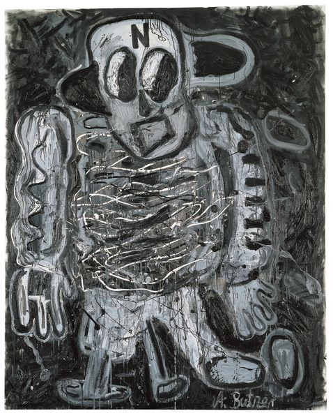 Painting composed of black, white, and gray colors depicting a comic-like figure wearing the letter N on his forehead. André Butzer, Sammlung Goetz Munich