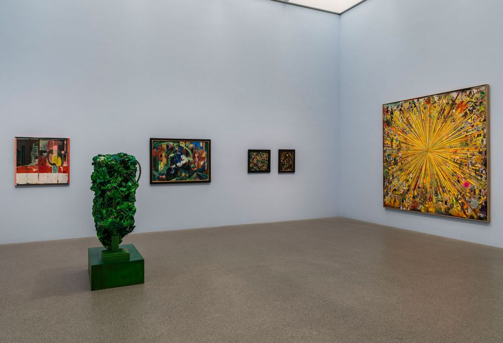 Exhibition space of the Pinakothek der Moderne with paintings by Franz Marc and Paul Klee as well as a large yellow collage and a green sculpture (a kind of hedge) by Tal R, Sammlung Goetz, Munich