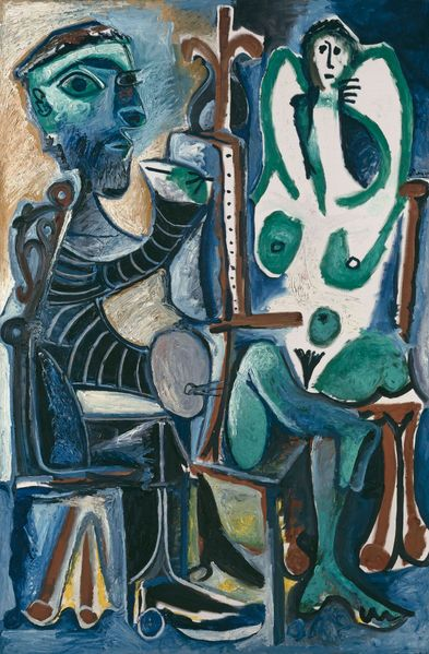 Painting with abstract representation of a painter with his model in shades of blue and green, Pablo Picasso