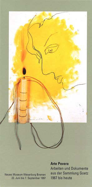 This picture shows a card of an exhibition of Arte Povera in Bremen.  It shows a work by Jannis Kounellis, which contains a drawing of a face in profile with yellow background on paper. Attached to it is a long-stemmed candle with string. This candle seems to have burned before, because there is a burn mark on the paper and the wax has burned down a little bit.
