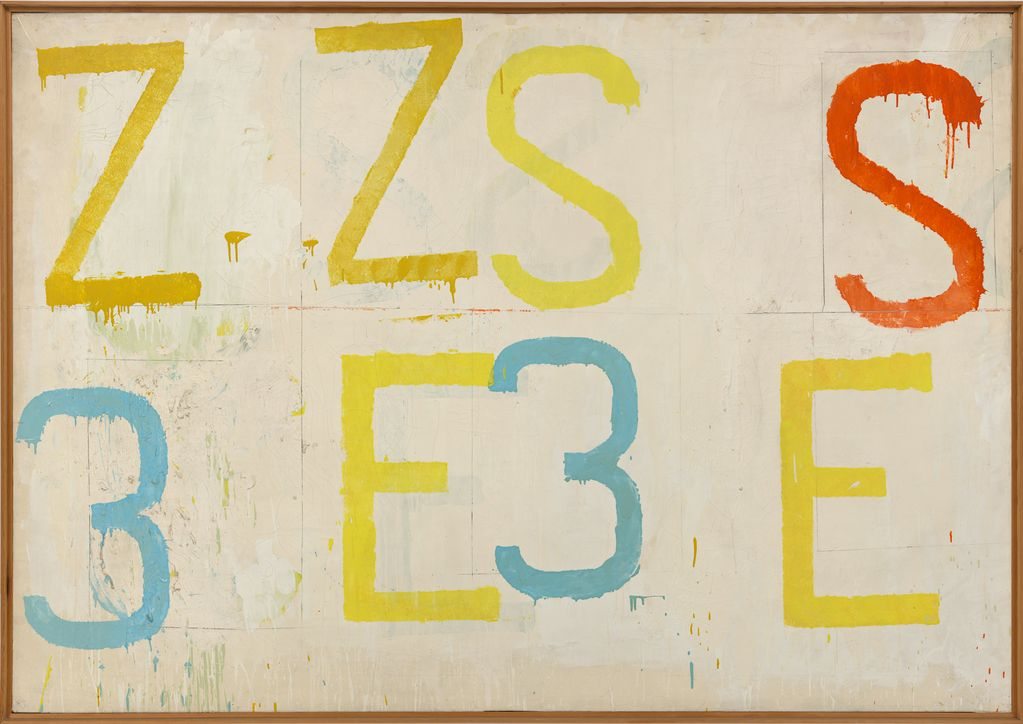 This painting by Jannis Kounellis consists of large colourful letters and numbers on a white background. At the top you can read the letters ZZSS in yellow and red, below 3E3E in alternation of light blue and yellow.