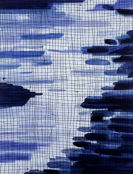 This image consists of an abstract painting in dark and light shades of blue, with a grid that lies delicately and partially broken over horizontal brushstrokes.